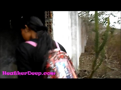 Heather Deep explores trail in jungle and get creamthroat in abandoned toilet trailer