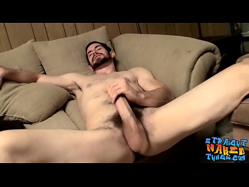 Hairy jock wanking and stroking his thick hard dick solo
