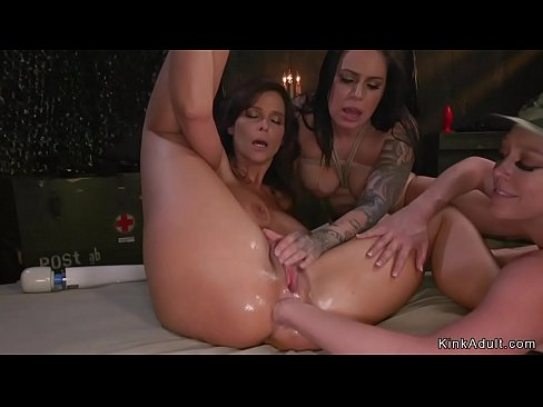 Busty soldier anal toyed and fisted threesome