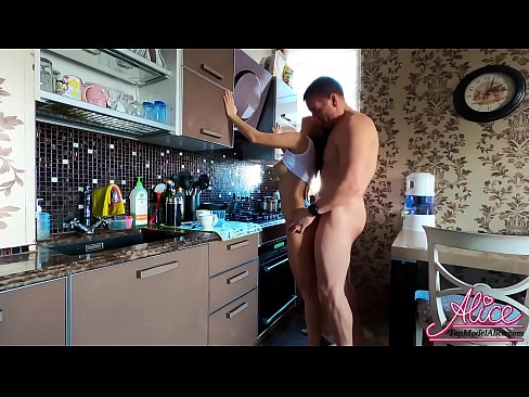 Brunette Blowjob Dick, Pussy Licking and Hard Pussy Fuck in the Kitchen