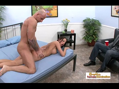Outstanding busty brunette cuckold getting creamed in front of her hubby