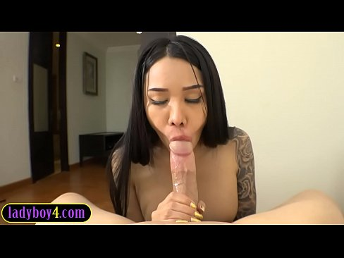 Teen ladyboy babe Alice sucks and rides on a huge cock