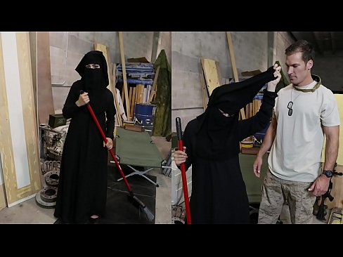 TOUR OF BOOTY – Muslim Woman Sweeping Floor Gets Noticed By Horny American Soldier