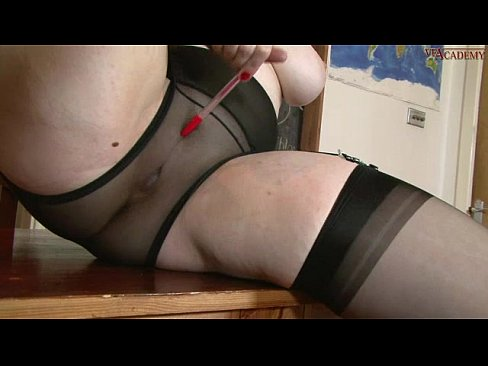 chubby slutty school girl in full uniform stockings suspenders & shear nix