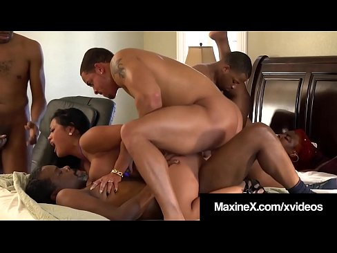 Asian-Canadian Milf Maxine X stuffs her brown bangable box & dirty mouth with four big black cocks & one phat friend in this major interracial gangbang orgy! Full Video & Maxine Live @ MaxineX.com!