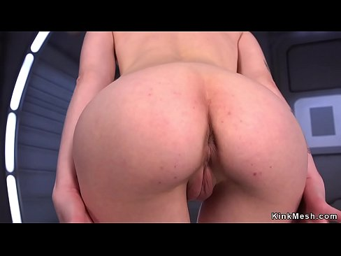Shaped tiny solo babe gets big dildo fucking machine in her pussy