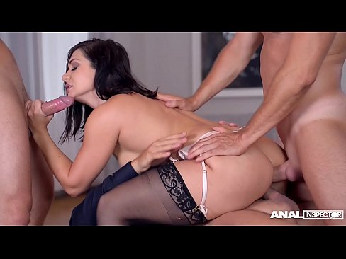 Anal inspectors get to see Lea Lexis swallow three cocks in anal gangbang