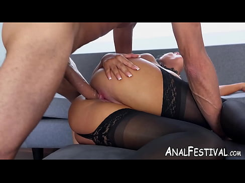 Stockings clad asshole drilled deep