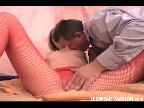 Nice blonde hot babe Jules getting licked in ripped fishnets