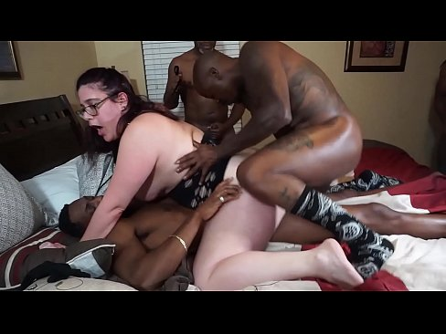 First Time DP for White Slut Housewife. Double Penetration Gangbang