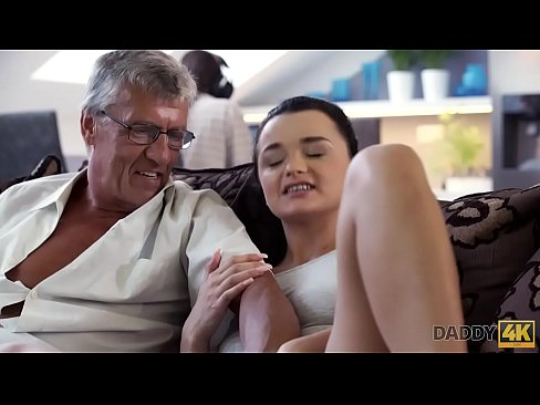 Clip sex DADDY4K. Horny brunette unleashes all lust on boyfriend's old daddy