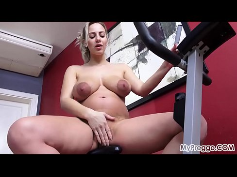 Dirty pregnant and Masturbating on Her Train Bike!
