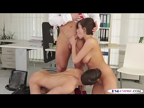 Classy busty babe trio with bisexual hunks