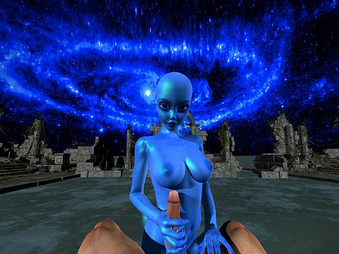 Blue Alien gets Facefucked and stretched