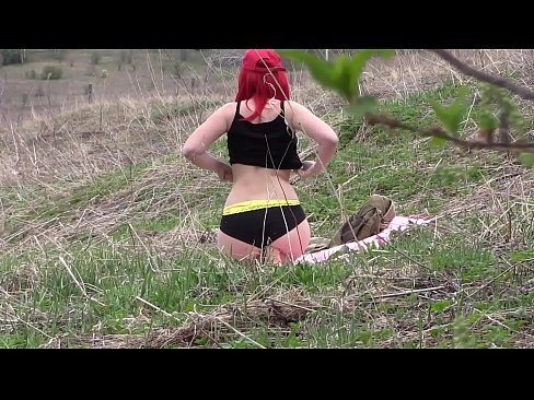 Voyeur spies on a girl with a big ass that masturbates outdoors. Organic masturbation with cucumber.