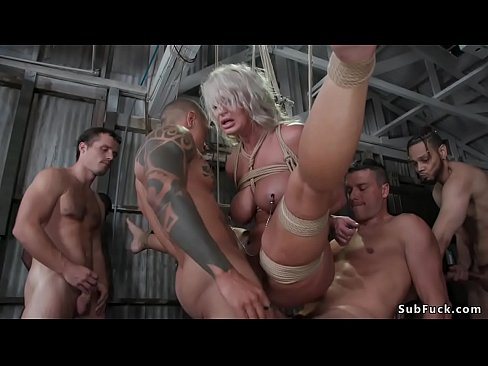 Big tits Milf stripper London River with great ass gets groped and tied after work and then by group of guys gangbang and double penetration fucked