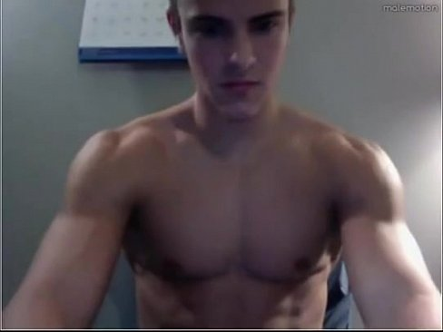 Beautiful boy show his muscles and cums on his perfect body