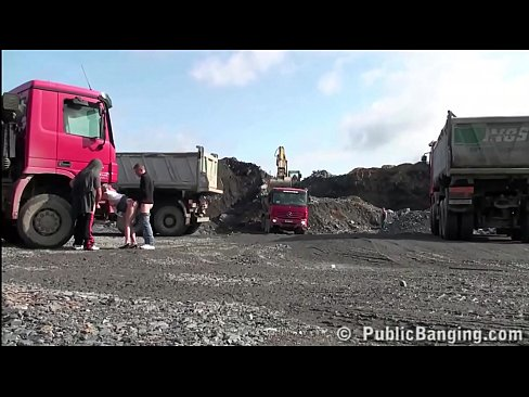 Young blonde pretty girls PUBLIC sex threesome at a construction site