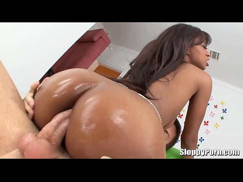 Ebony Creampie Riding Dildo