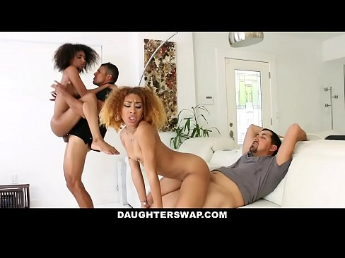 DaughterSwap - Hot Ebony Teens (Kendall Woods) (Riley King) Fucked For Disobeying Dad