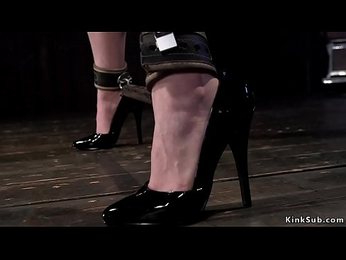 Redhead newcomer Jessica Ryan in standing bondage with spreaded legs and hands above head gets pussy vibed then in other position pussy whipped