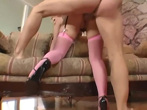 Blonde In A Corset And Fishnet Stockings Fucking Video
