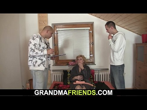 two delivery men fuck sexy old lady