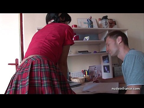 Deep analizing of a Busty french brunette in schoolgirl uniform jizzed on stomac