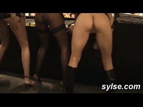 3 MILFs flashing in shop before fucking with customers