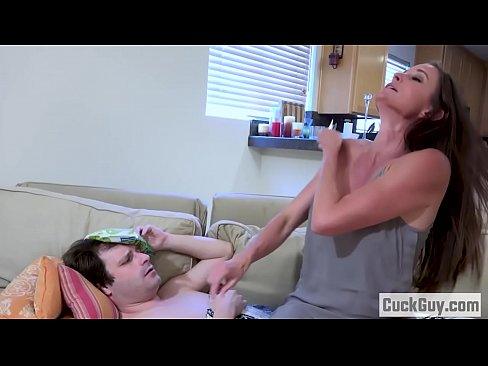 Sick cuckold cleans up the mess