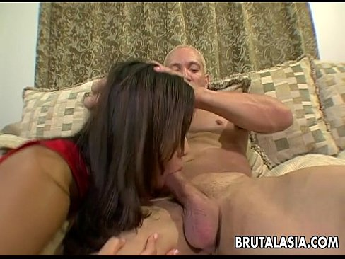 Hot threesome with one cock eager brunette skank