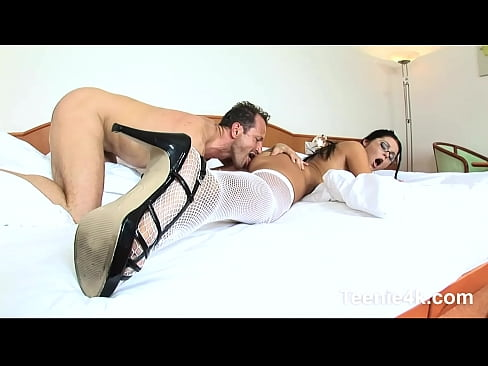 Teen maid loves to be seduced then pussy licked & hardcore fucked by huge cock