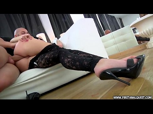 FirstAnalQuest.com - YOUNG ANAL PORN WITH A SWEET RUSSIAN IN LACE TIGHTS