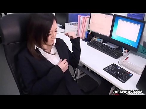 Asian Office Worker With Stockings Rubs Her Pussy With A Sex Toy