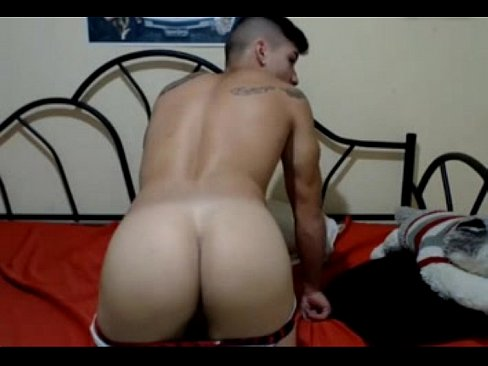 Tattooed Colombian Hottie Spread his Ass & Cums on Cam
