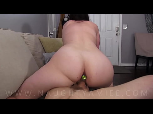 Sis in law with big tits fucking rides my cock with a butt plug in reverse cowgirl