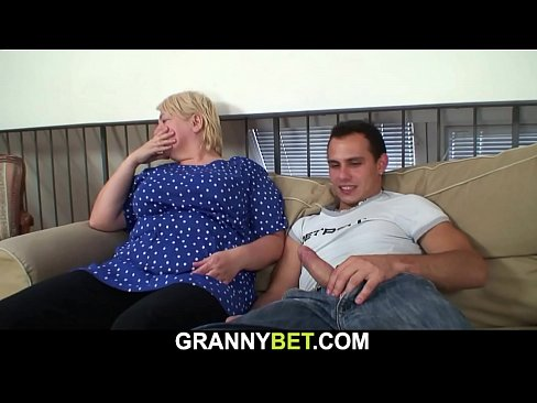 Busty 70 years old blonde grandma pleases young stud's Thumb