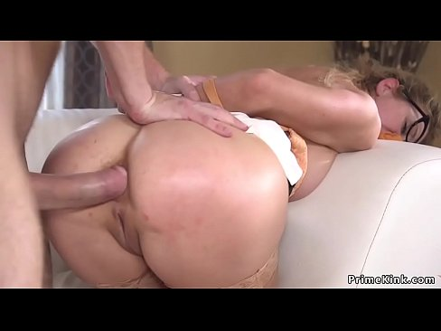 Blonde Milf gets handcuffed by young dude and anal fucked