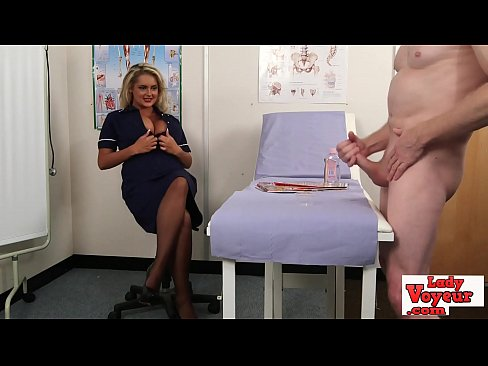 Nurse naughty makes cfnm loser jerk off