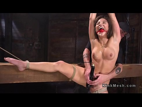 Tied up babe drooling during torment