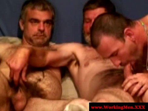 Three horny straight matures blow dick
