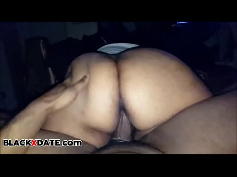 Big black booty babe rides hard black cock