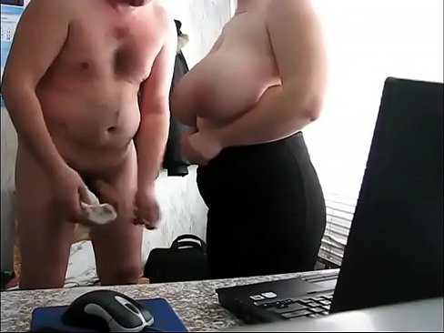 russian boss rushing to the thick secretary in the office