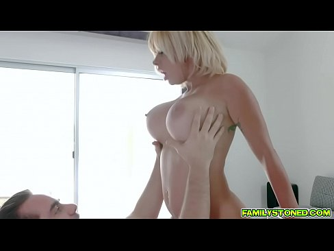 Hot ssexy horny stepmom hops on top of stepson and spits in his mouth as he pummels her pussy from below