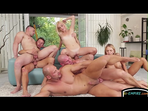 Horny bisexual group fuck orgy