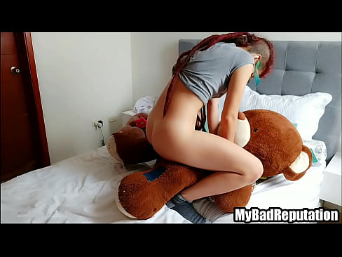 Hot dreadhead teen fucks giant teddy bear with strapon until shaking orgasm