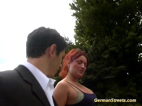 busty german redhead in outdoor threesome – 13 min