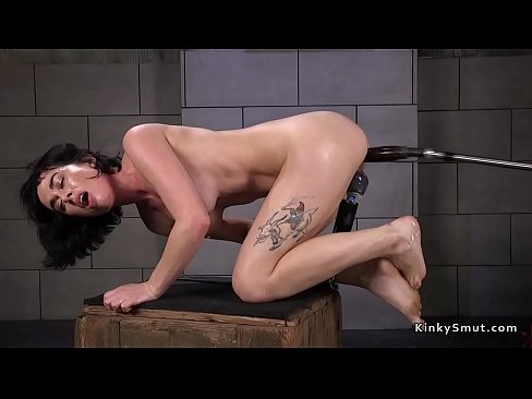 Wet brunette pounds cunt with machine's Thumb