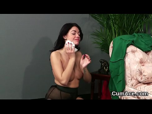 Flirty doll gets jizz load on her face gulping all the jizm