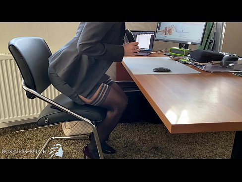 business woman dildo play in home office, Business Bitch
